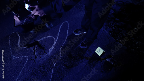 Fotografie, Tablou  Forensic experts studying evidence on murder scene, taking photos, writing notes
