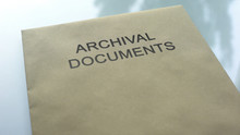 Archival Document, Folder With Important Documents Lying On Table, Close Up