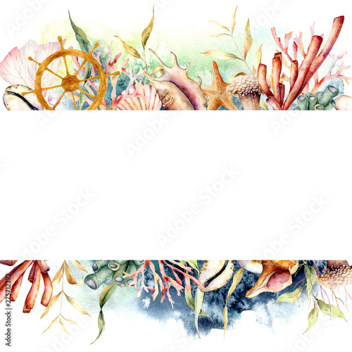 Watercolor border with ships wheel and coral reef plants. Hand painted seaweeds, shells and starfish isolated on white background. Nautical template. Illustration for design, print or background. Wall mural