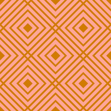 Cute Pink And Gold Linear Checkered Seamless Pattern. Geometric Background With Linear Squares. Basic Modern Background For Design, Website, Cards, Wrapping Paper. Vector Illustration.