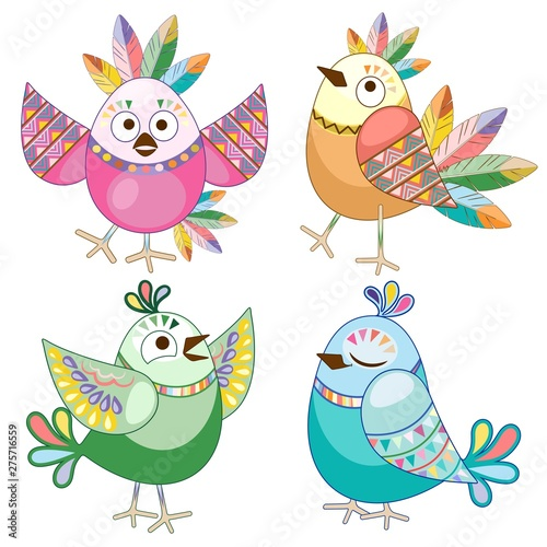 Foto op Aluminium Draw Birds Cute Ethnic Flat Cartoon Characters Vector Illustration isolated on white