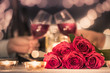 canvas print picture - Romantic candle light dinner