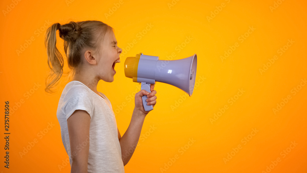 Fototapety, obrazy: Anxious teen girl shouting in loudspeaker, relieving stress, children rights