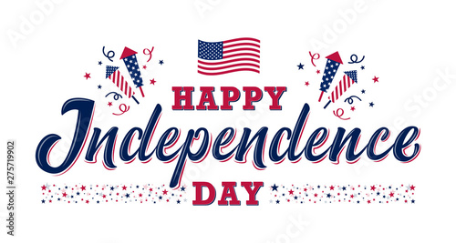 Happy Independence day sign with stars, petards and american flag Fototapeta