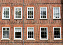 Eight Windows With White Sash And Frame On A Red Brick Wall Georgian British Style