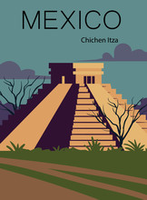 Mexico Retro Post. Landscape Of Mexico With The Ancient Pyramid Of Chichen Itza.