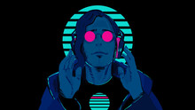 A Guy With Blue Skin In Pink, Round Glasses Against A Striped Neon Circle Is Listening To Music In Stereo Headphones. Illustration Of A Sci-fi Retro Wave 80's On A Black Background.