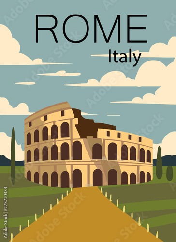 Rome vintage retro poster. Landscape of Rome with the Coliseum.