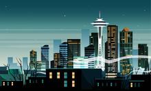 Night Cartoon Landscape Of The...