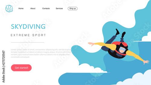 Obraz na plátně  Landing page template of extreme sport skydiving