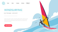 Landing Page Template Of Extreme Sport Windsurfing. The Flat Design Concept Of Web Page Design For A Windsurfing Website.