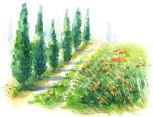 Watercolor Sketch Rural Scene ...