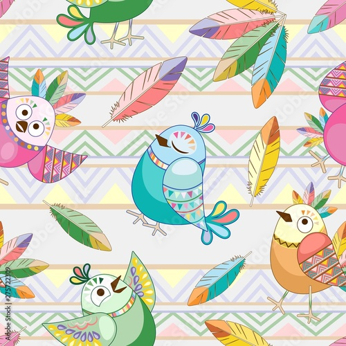 Photo Stands Draw Birds Cute Ethnic Characters Vector Seamless Pattern Textile Design