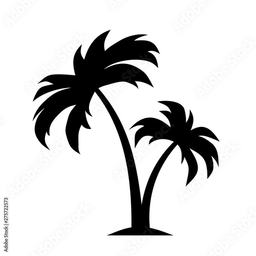 Vector black silhouette of palm trees isolated on a white background. Wall mural