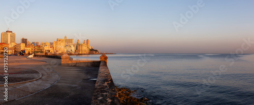 Beautiful panoramic view of the Old Havana City, Capital of Cuba, by the Ocean Coast during a vibrant sunny sunrise Wallpaper Mural