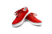 A Pair Of Red Canvas Shoes Iso...