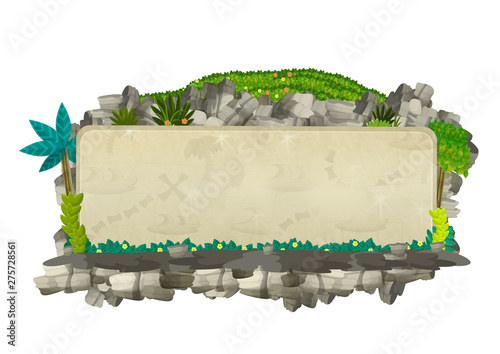 Fototapeta  cartoon scene with natural title frame with rocks and plants on white background