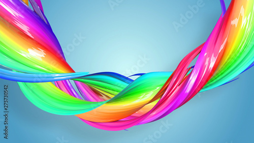 Poster Abstract wave 3d rendering of abstract rainbow color ribbon twisted into a circular structure on a blue background. Beautiful multicolored ribbon glitters brightly. 48