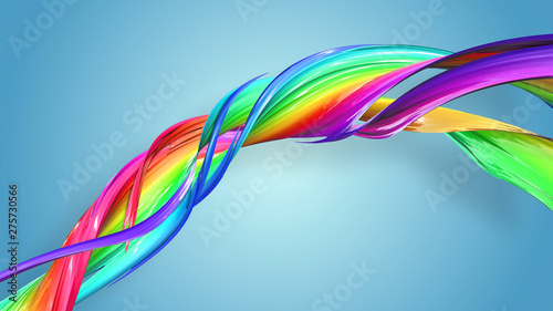 Fotografia  3d rendering of abstract rainbow color ribbon twisted into a circular structure on a blue background