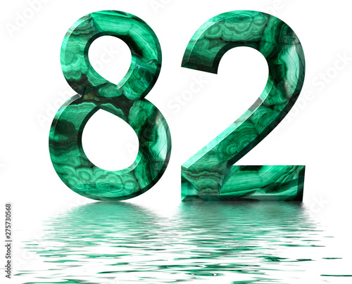 Arabic numeral 82, eighty two, from natural green malachite