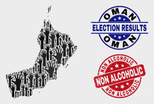 Election Oman Map And Seal Stamps. Red Round Non Alcoholic Textured Seal. Black Oman Map Mosaic Of Upwards Help Arms. Vector Combination For Ballot Results, With Non Alcoholic Seal Stamp.