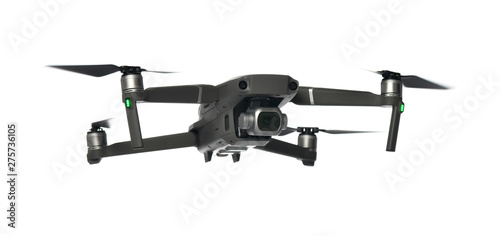 Valokuva  New dark grey drone quadcopter with digital camera and sensors flying on white
