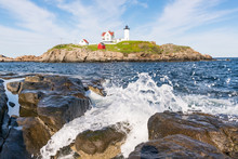 Nubble Lighthouse Along Cape Neddick In York, Maine