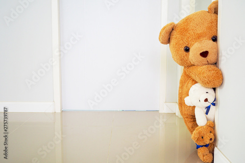 Teddy bear group standing behind the wall. Hide the secret of children. Background for Kids Games