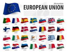 European Union Flag ( EU ) And Membership On Europe Map Background . Waving Flag Design . Vector
