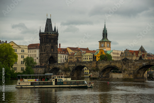 Aluminium Prints Prague Prague, Czech Republic skyline with historic Charles Bridge and Vltava river