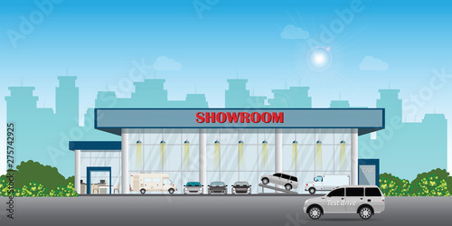 Papiers peints Cartoon voitures Modern car dealership centre showroom building includes cars on the display and test drive car.