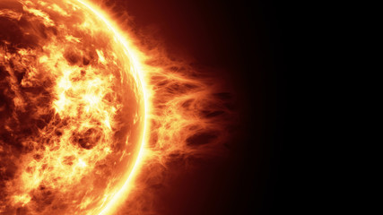 Realistic 3d illustration of Sun surface with solar flares, Burning of the sun with copy space. Highly realistic sun surface. Science and space background.