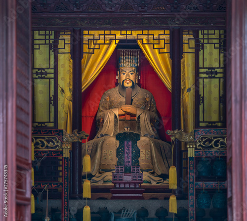 Valokuva  Statue of Confucius or Kongzi in Confucian Temple or Kongmiao at Jiading, Shanghai, China, built initially in 13th century