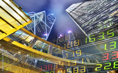 Stock Market Exchange on a skyscraper in Hong Kong at night,background Canvas Print