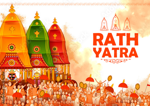 Fotografie, Obraz  illustration of Lord Jagannath, Balabhadra and Subhadra on annual Rathayatra in