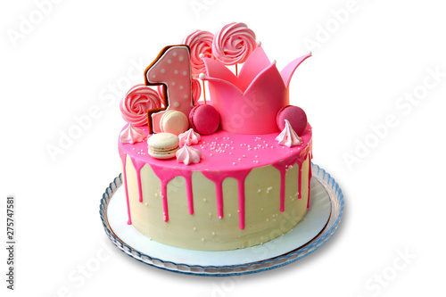 Incredible Festive Cake Decorated Pink Frosting On White Background First Funny Birthday Cards Online Inifodamsfinfo