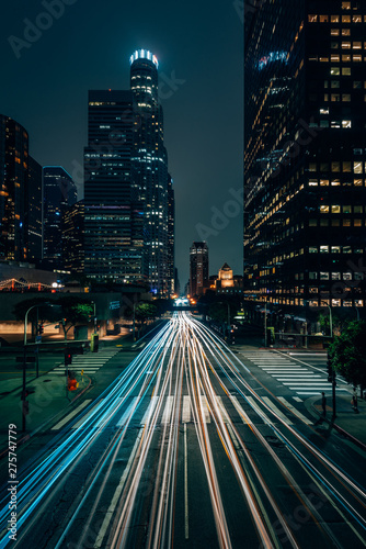 Night cityscape view in downtown Los Angeles, California Fototapete
