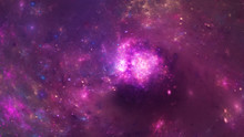 Abstract Purple Nebula. Fantasy Fractal Design. Digital Art. 3D Rendering.