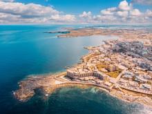 City Marsaskala Malta Summer Harbour Water Mediterranean Sea Blue. Aerial Top View