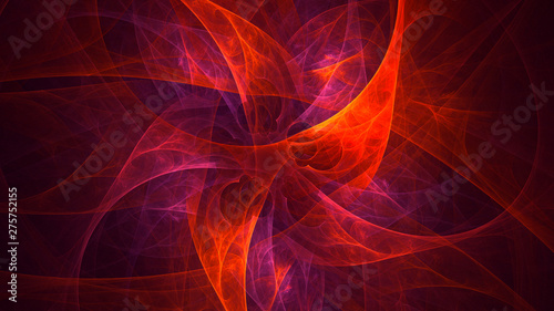 Door stickers Fractal waves 3D rendering abstract red fractal light background