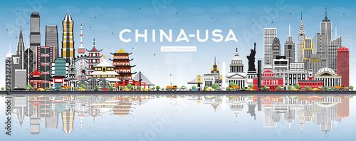 Obraz na plátně China and USA Skyline with Gray Buildings, Blue Sky and Reflections