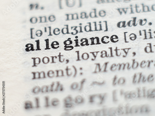 Dictionary definition of word allegiance, selective focus. Canvas Print