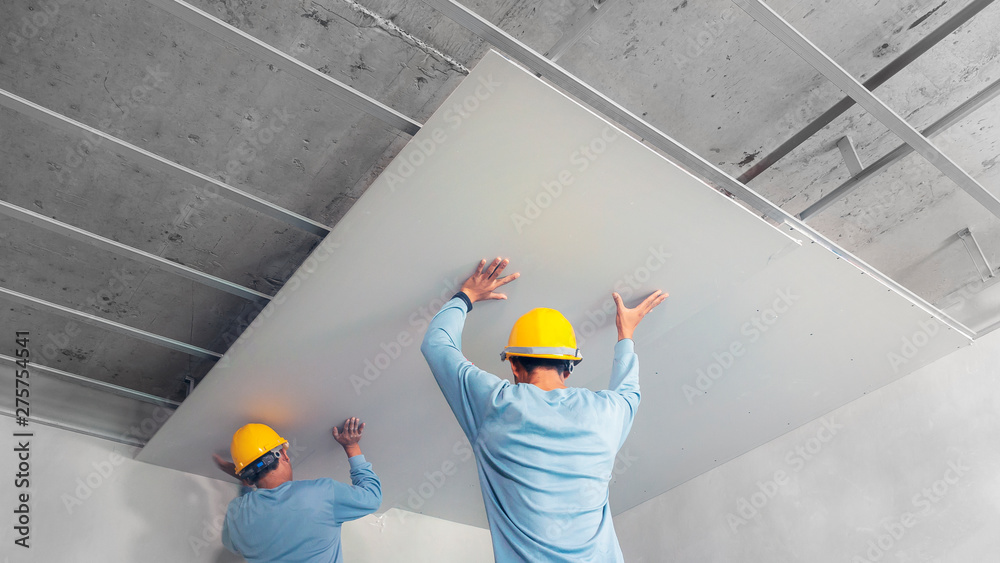 Fototapeta Ceiling installation with acoustic panels With professional technicians