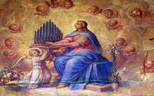 Saint Cecilia, Fresco In The Basilica Of The Sacred Heart Of Jesus In Zagreb, Croatia