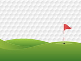Golf background. Golf course with a hole and a flag