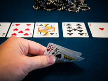 Live Poker Game In Casino. River Brings The Ace Of Hearts While Player Holding Pocket Kings.