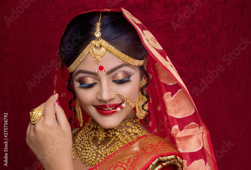Photo Portrait of a Beautiful Elegant Female Indian Model in Traditional Ethnic Asian