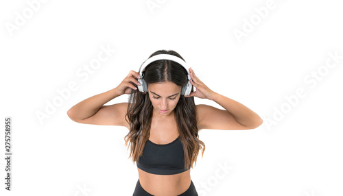 beautiful woman with fitness and healthy lifestyle listening to