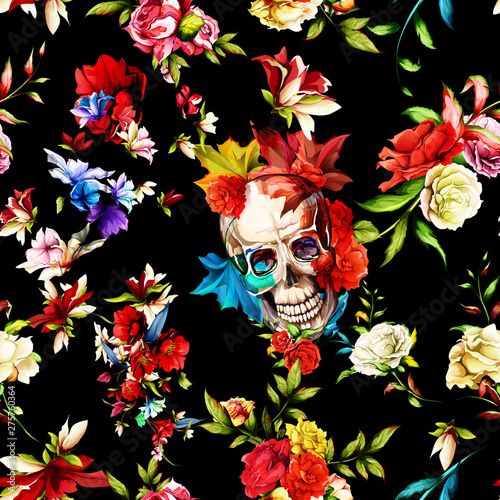 Poster Crâne aquarelle Vintage seamless background pattern. Skull with flowers, roses, rosemary and leaves on black. Abstract, hand drawn, vector - stock.