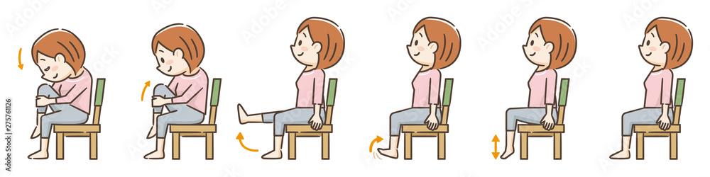 Fototapety, obrazy: 椅子を使用した運動